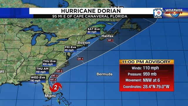 Category 2 Hurricane Dorian tracks along Florida coast