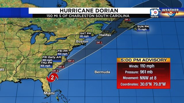 High seas off South Florida from Hurricane Dorian to decrease tonight