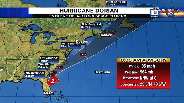 Hurricane Dorian pounds Florida coast; Carolinas at higher risk of direct hit