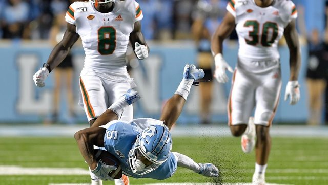 North Carolina hangs on for 28-25 win against Hurricanes