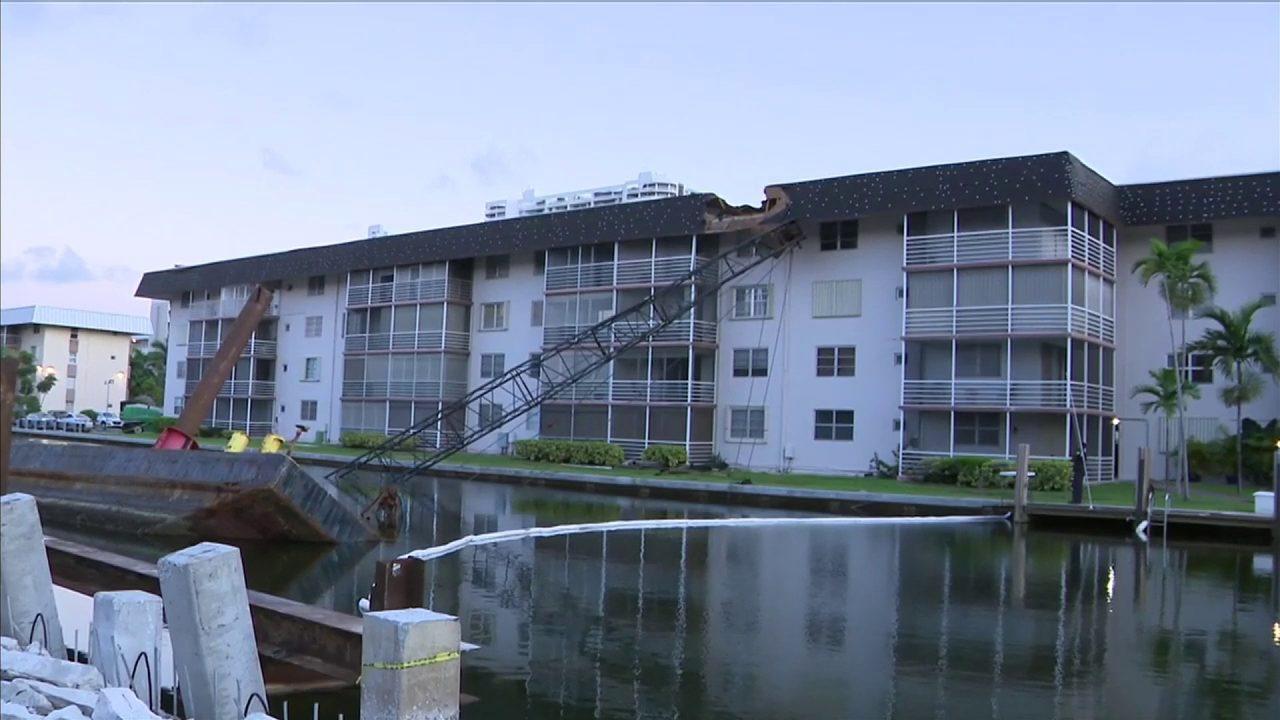 Crane Collapses Damages Roof Of North Miami Beach Condo