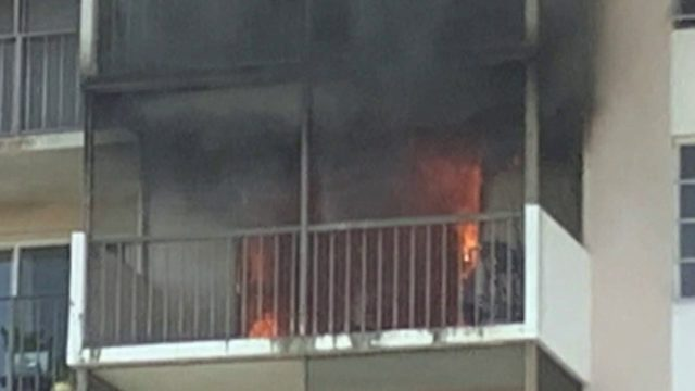 Fire erupts inside Lauderhill apartment building
