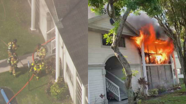 Miami-Dade apartment fire sparks explosion on patio