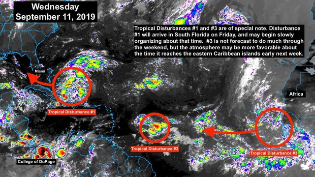 2 of 3 tropical disturbances in Atlantic may require attention this weekend