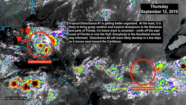 Tropical disturbance near Bahamas getting better organized