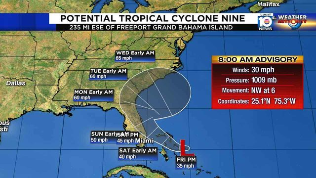 Tropical disturbance near Bahamas forecast to become depression, storm