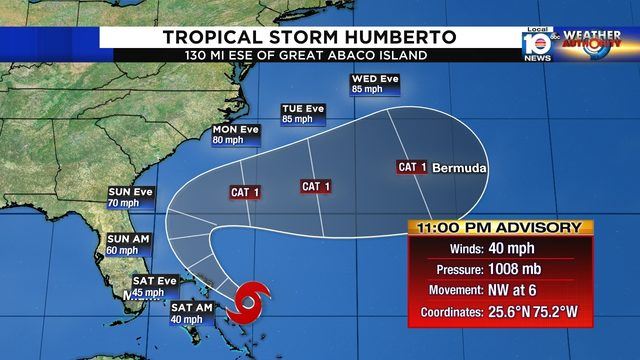 Tropical Storm Humberto moves toward northwest Bahamas