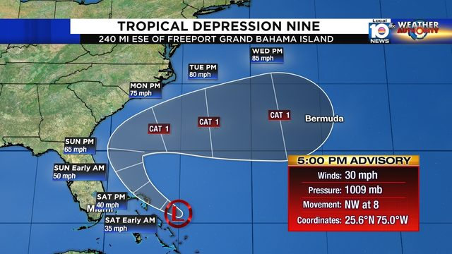 System near Bahamas becomes Tropical Depression Nine