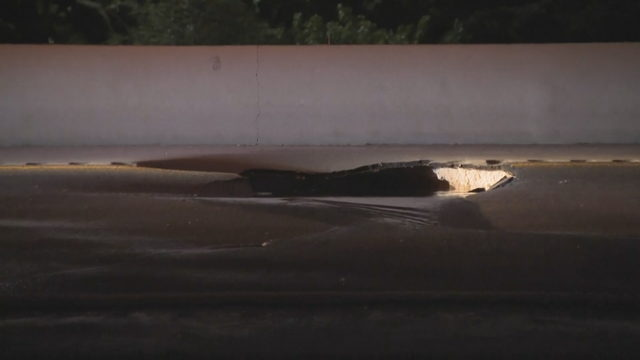 Ruptured pipe causes hole in middle of William Lehman Causeway