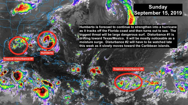 Tropical Storm Humberto staying offshore of Florida, another system in…