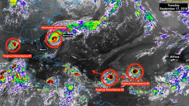 Humberto gaining strength; tropical disturbance may become Imelda