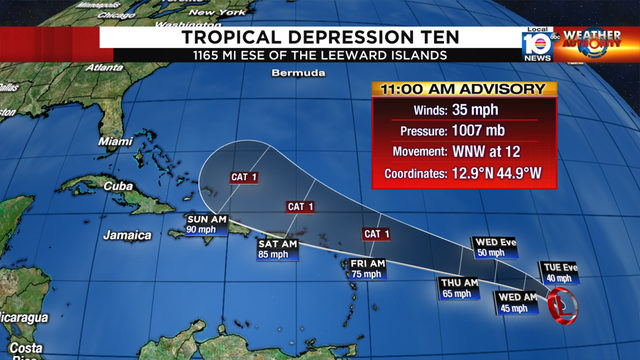 Humberto gaining strength; Tropical Depression Ten forms
