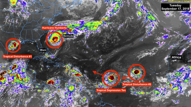 Humberto gaining strength; Tropical Depression Ten forms