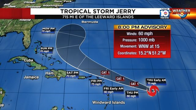 Tropical Storm Jerry forms, forecast to become hurricane