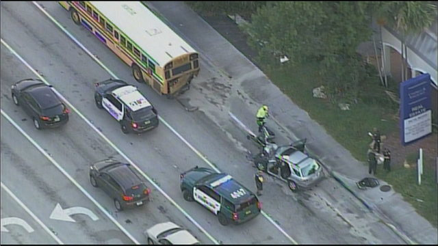 School bus involved in crash in Pompano Beach