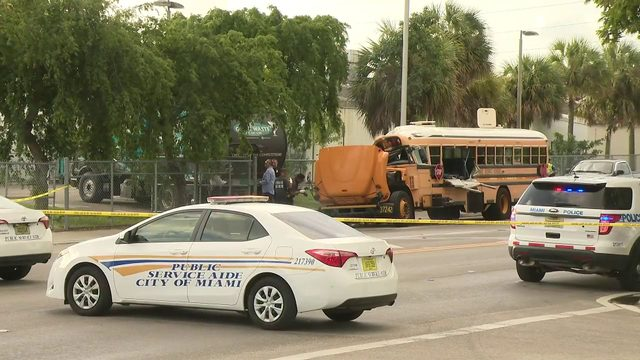 Man rescued after school bus crash in Miami