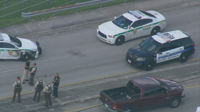 Police car, minivan damaged during possible bailout in northwest Miami-Dade
