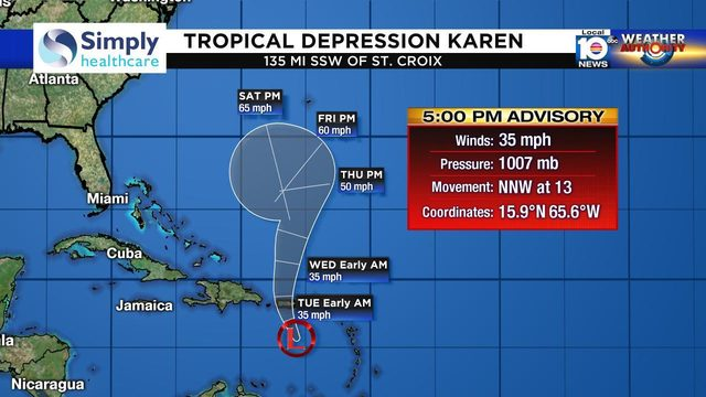 Karen downgraded to depression, but Florida should pay attention