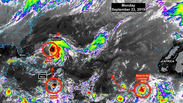 Tropical Storm Karen struggling; Tropical Depression 13 forms