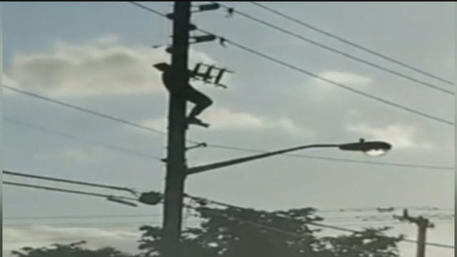 Man shocked, falls about 50 feet after climbing power pole