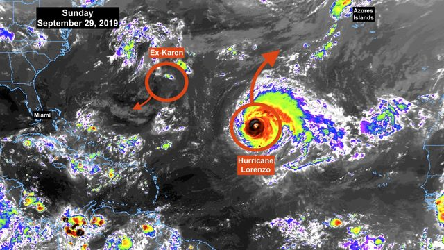 Record-setting Hurricane Lorenzo continues swirling in northeastern Atlantic
