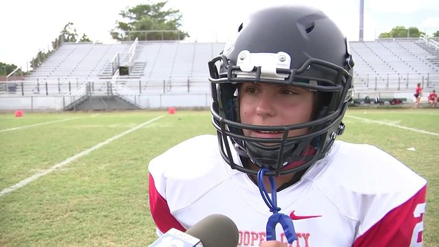 Student at Cooper City high makes history as first female football player