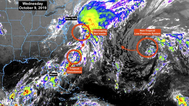 Nor'easter-like storm likely to absorb tropical disturbance