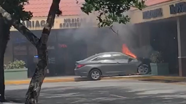 Car erupts in flames after driving into Coral Springs strip mall