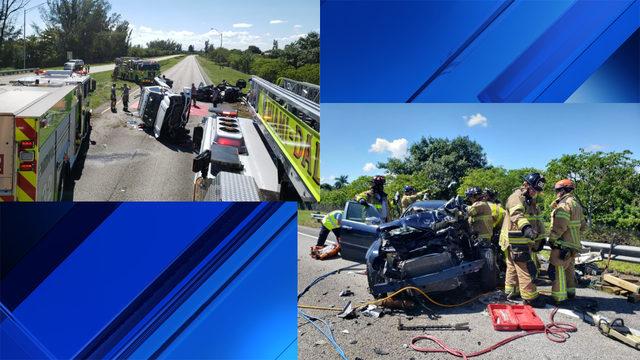Rollover accident sends 1 to trauma center in Miami-Dade