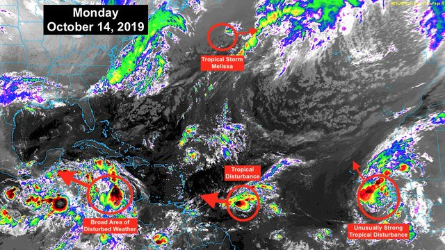 Disturbance pushes off of Africa, timing unusual