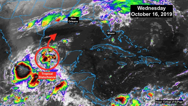Possibility growing of tropical system development in Gulf of Mexico