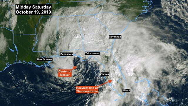Tropical Storm Nestor moving across Southeast U.S.