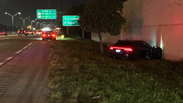 SUV shot up, abandoned along I-95 in Miami