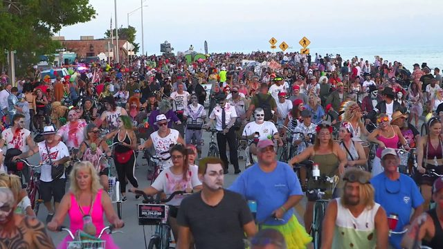 Zombies take over Key West for annual Fantasy Fest Bike Ride