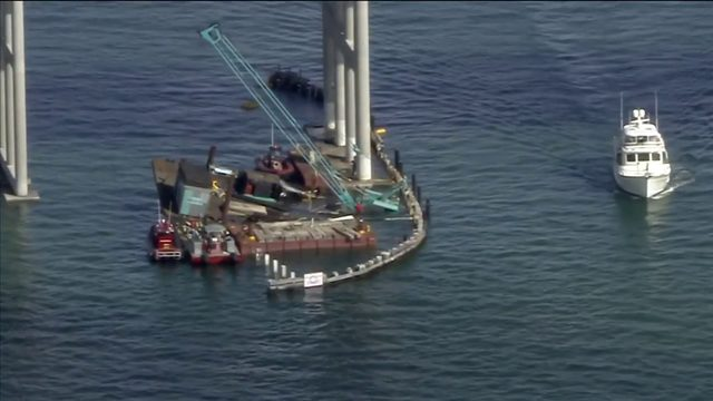 Construction barge partially collapses near Rickenbacker Causeway