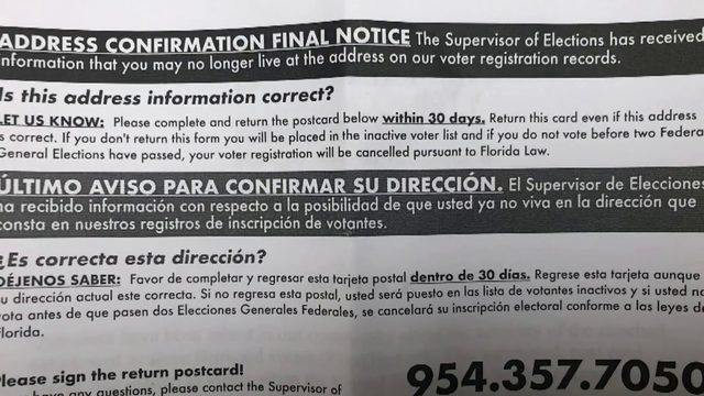 Erroneous letters sent to 54,000 Broward County voters
