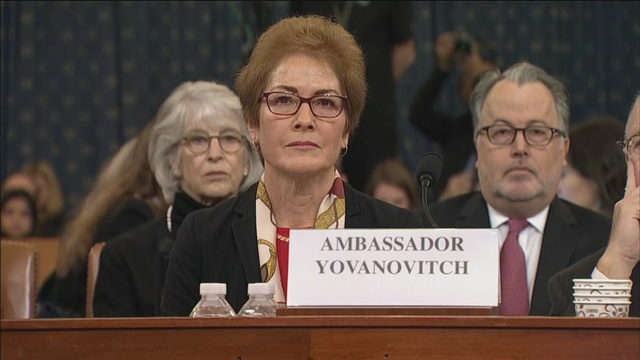 Former US ambassador to Ukraine testifies in Trump impeachment hearings