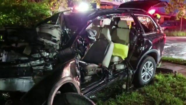 Car crashes into concrete wall at Miami-Dade school, bursts into flames